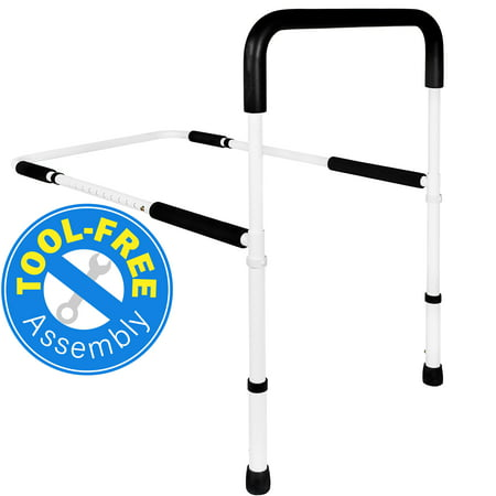 Vaunn Medical Adjustable Bed Assist Rail Handle and Hand Guard Grab Bar, Bedside Safety and Stability (Tool-Free Assembly)