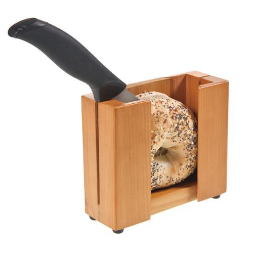 Wood Bagel Holder/Cutter Slicer Guide Even Slices Prevent Hand Injury Fast Safe