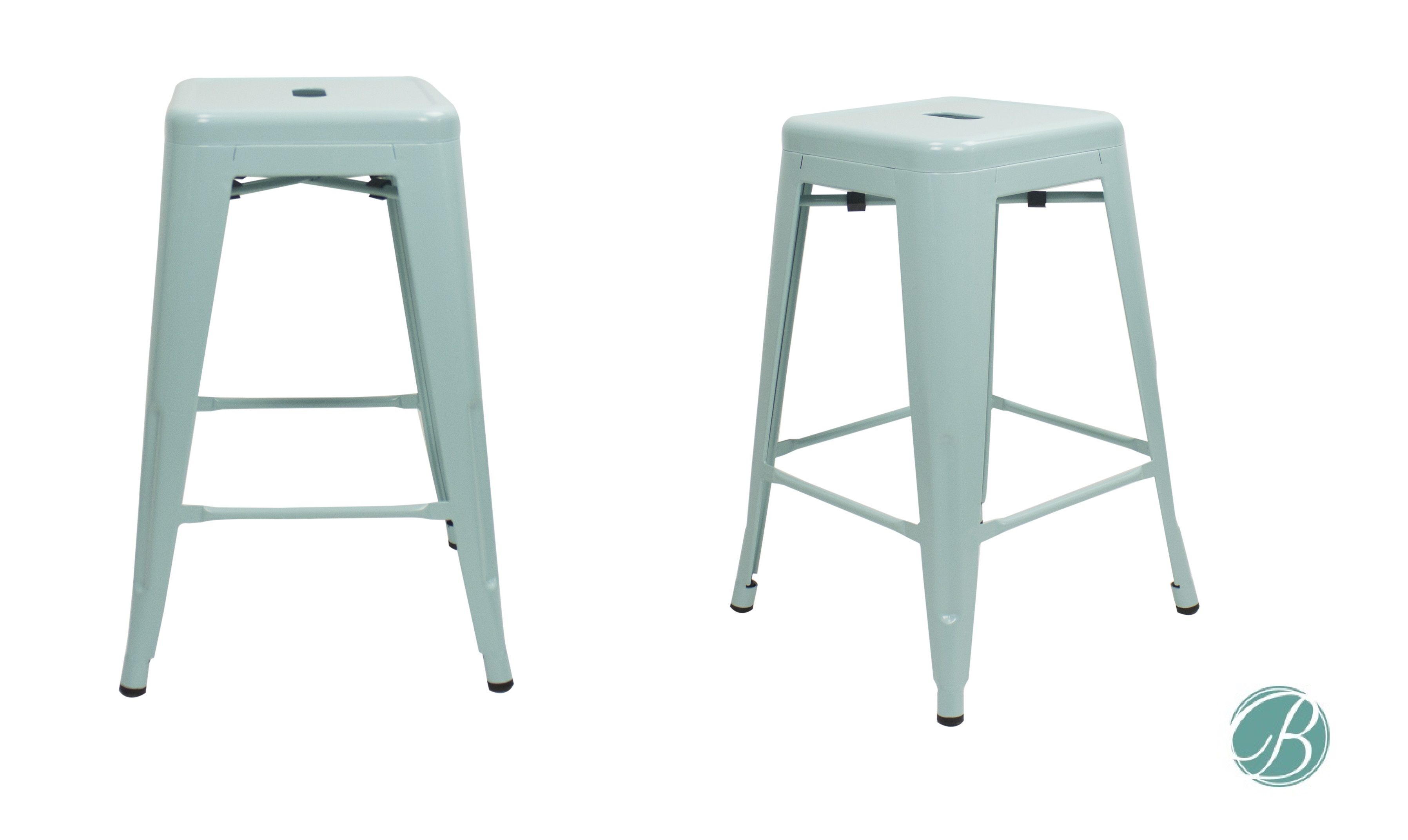 SET OF 2 Metal Bar Stool 24u201d MILANI PALE GREEN Stackable, Indoor/Outdoor