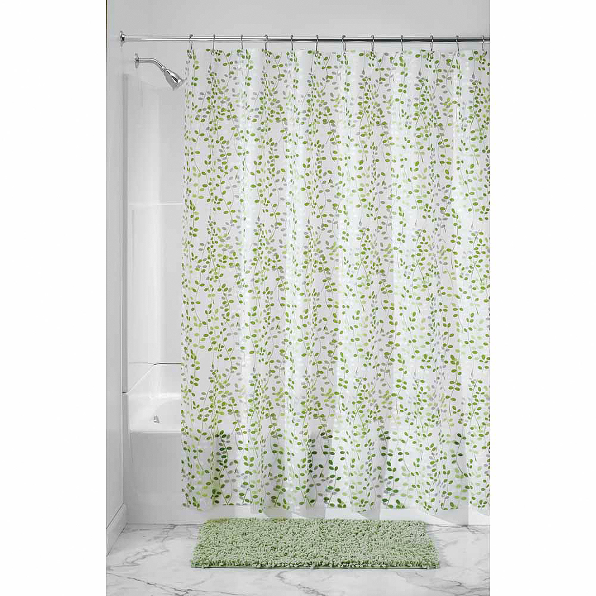 "InterDesign Vine Shower Curtain, 72"" x 72"", Green/White"