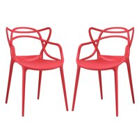 Modern Contemporary Urban Design Outdoor Kitchen Room Dining Chair Set ( Set of Two), Red, Plastic