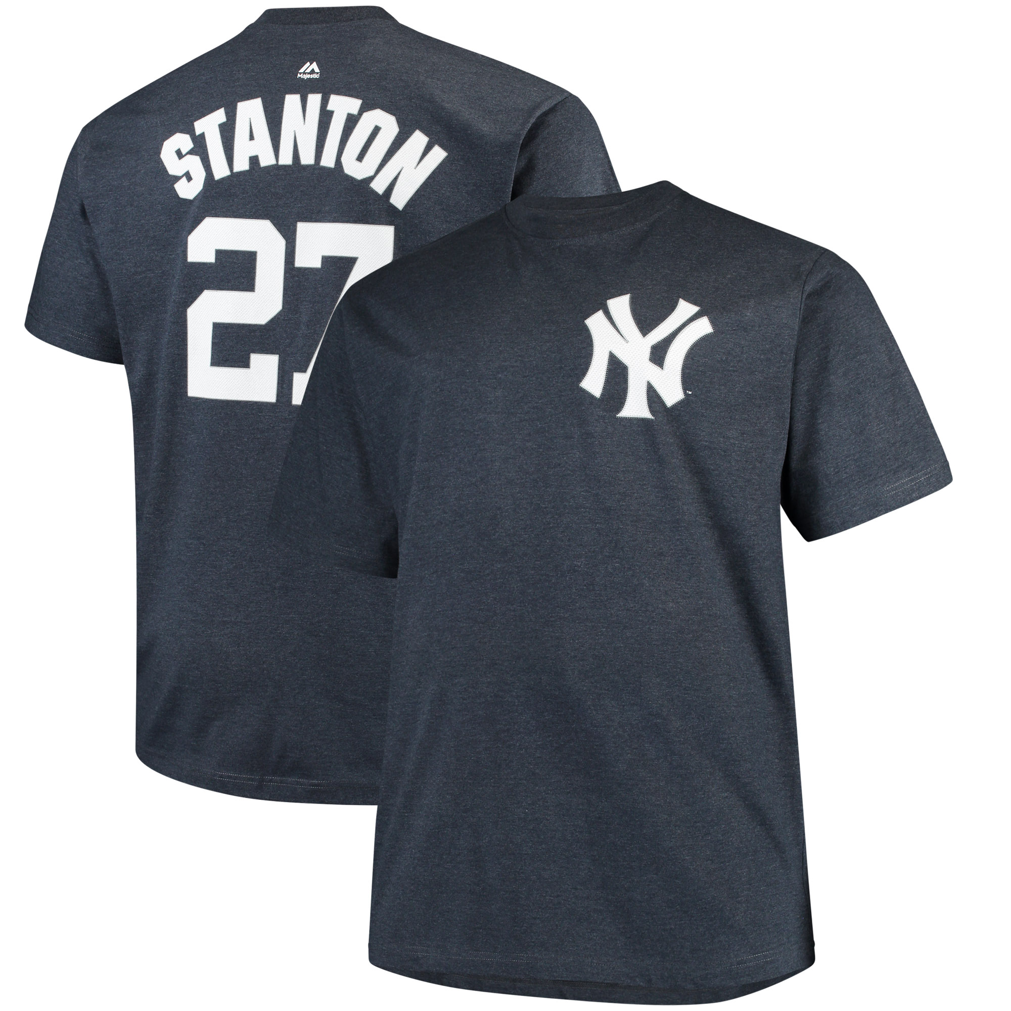 Men's Majestic Giancarlo Stanton Heathered Navy New York Yankees Big & Tall Name & Number T-Shirt