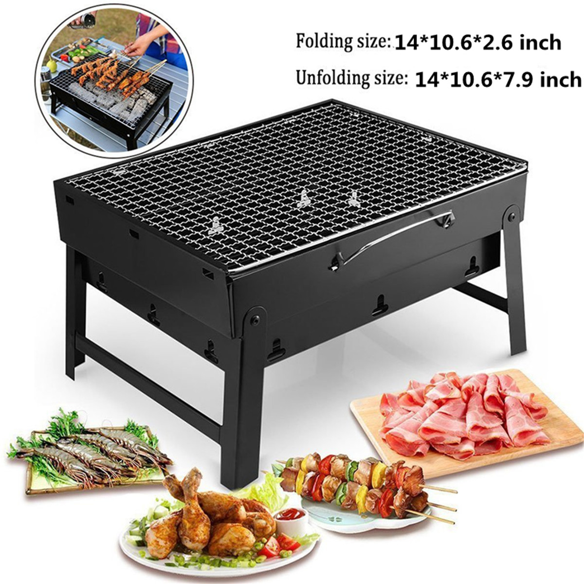 "Mini portable Folding Stainless Steel Notebook Charcoal Grill Barbecue Grill Camping BBQ Outdoor Cooking 14""*10.6""*7.9"""