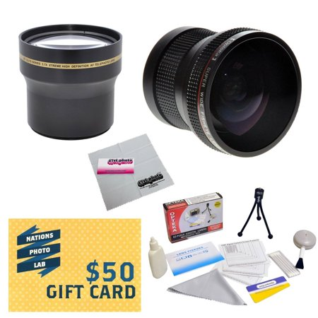 Professional 3.7X Telephoto & 0.20X Fisheye Lens Package For Olympus SP-550 SP-570 SP-560 UZ Digital Camera Includes CLA-10 Replacement Adapter + Deluxe Lens Cleaning Kit + $50 Photo Print Gift Card!