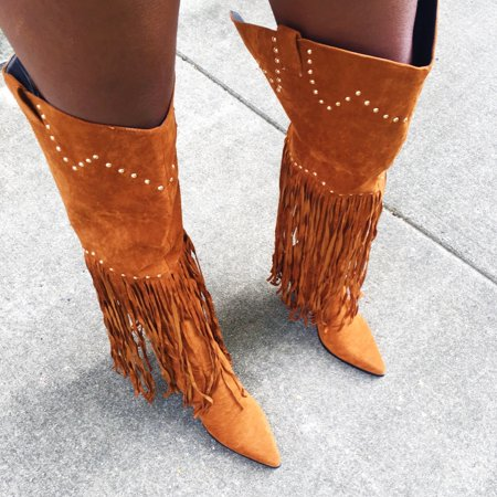 Cape Robbin Montana Camel Suede Fringe Thigh High Over Knee Western Cowboy Boots (Suede Boots High)