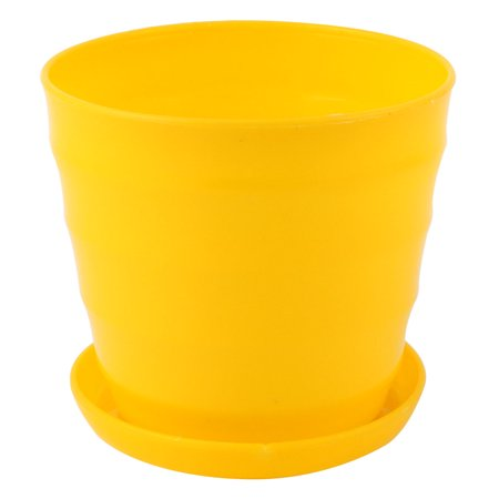 Yellow Plastic Stripe Pattern Home Garden Office  Plant Flower Pot w Tray (Pattern Pot)