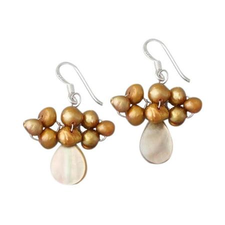 Teardrop Gold MOP Shell Pearl .925 Silver Dangle Earrings (Mop Dangle)