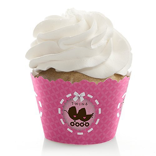 Twin Girl Baby Carriages - Twins Baby Shower Cupcake Wrappers (set of 12)