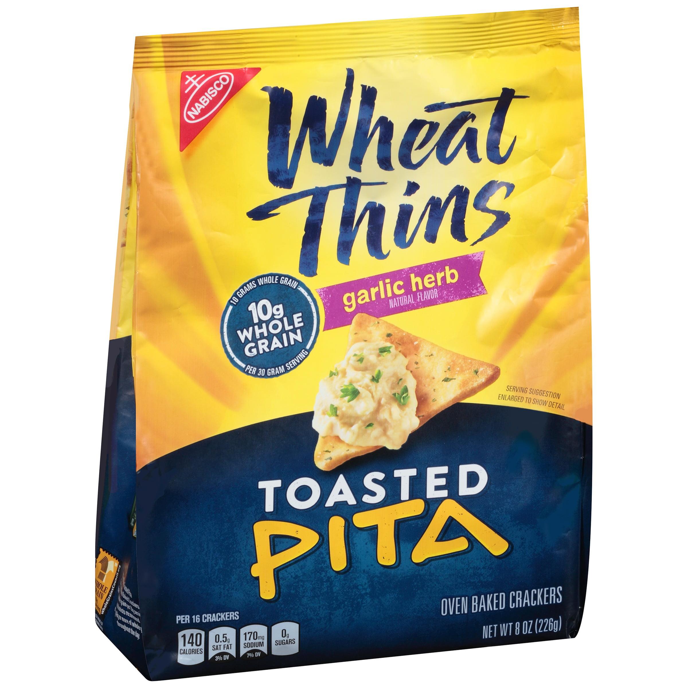 Nabisco Wheat Thins Toasted Pita Garlic Herb Crackers 8 oz. Bag