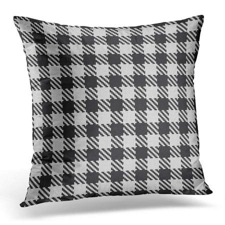 ECCOT Black Jacquard Knitted Shepherds Check White Knitwear Pillowcase Pillow Cover Cushion Case 16x16 - Shepherd Check