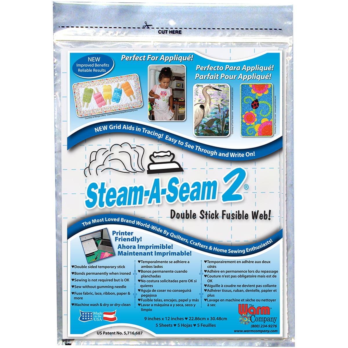 """Warm Company Steam-A-Seam 2 Double Stick Fusible Web-9""""X12"""" 5/Pkg FOB: MI"""