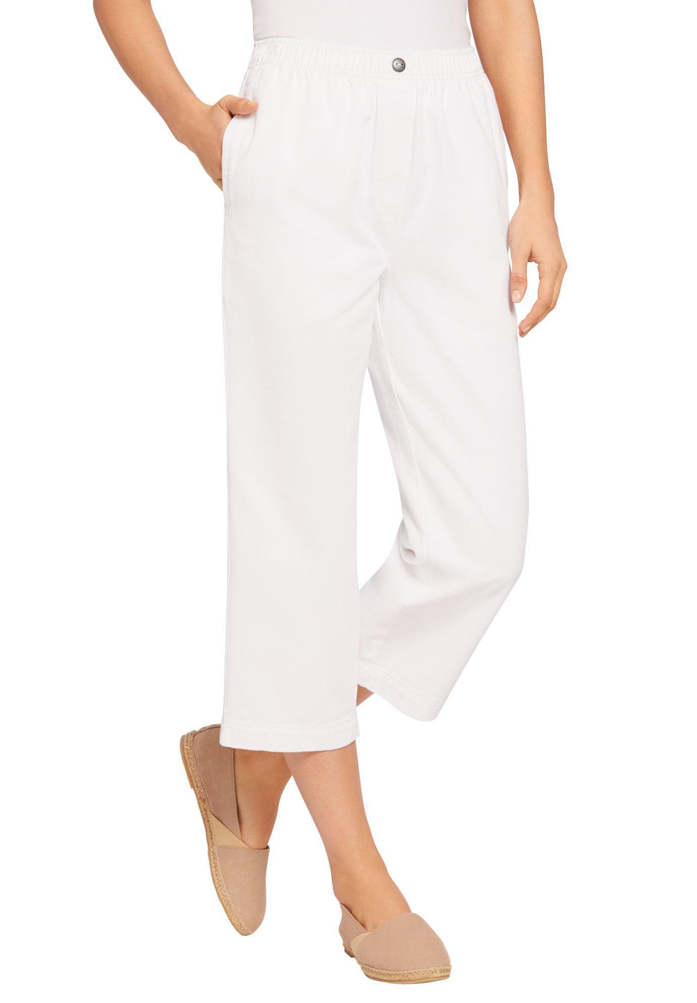 Woman Within Plus Size Elastic-waist Cotton Capri