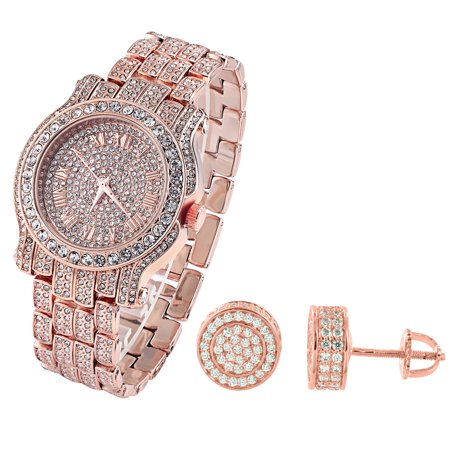 Rose Gold Finish Watch Fully Iced Out Simulated Diamonds Round Earrings