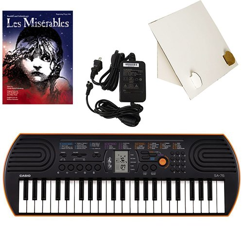 Casio SA-76 44 Key Mini Keyboard Deluxe Bundle Includes Bonus Casio AC Adapter, Desktop Music Stand & Les Misérables Beginning Piano Solo Songbook