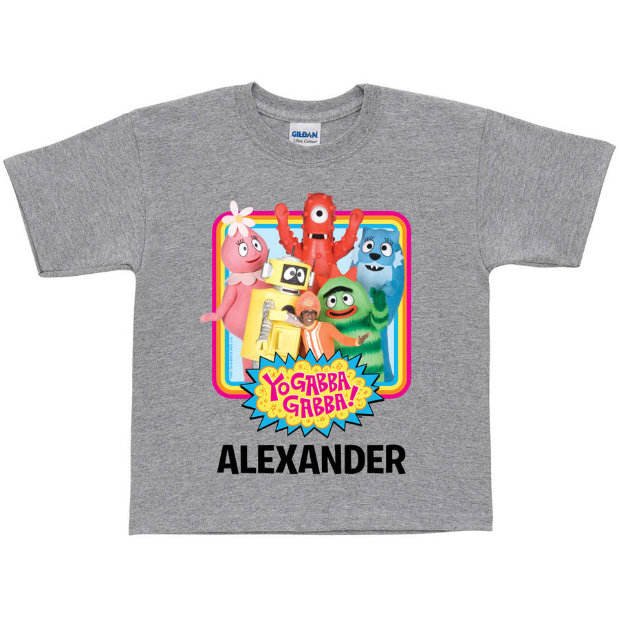 Personalized Yo Gabba Gabba Retro Toddler T-Shirt, Grey