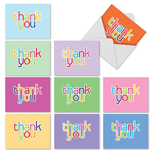 'M2363TYG HIPSTER THANKS' 10 Assorted Thank You Greeting Cards Featuring Thank You in a Fun Font with Bright Vibrant Colors with Envelopes by The Best Card Company