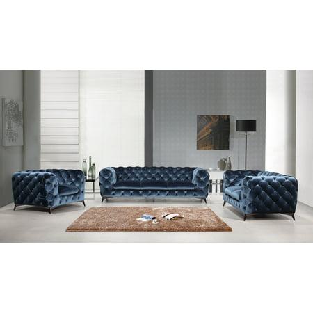 Vig Delilah Blue Fabric Sofa Set