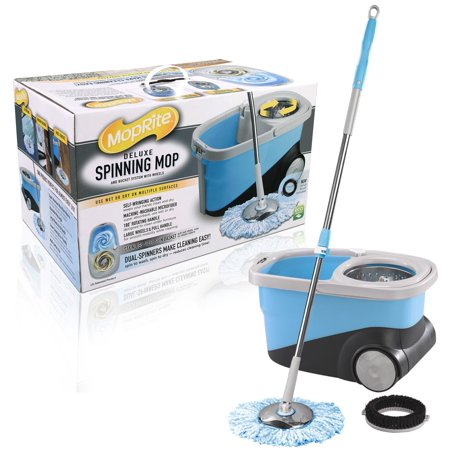 Moprite Spin Mop   Deluxe Stainless Steel Spin Mop And Bucket System With Wheels  Dual Function System For Spin Washing And Drying  Includes 2 Microfiber Mop Heads   Scrub Brush