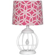 Your Zone Bird Cage Lamp with Floral Pink and White Shade