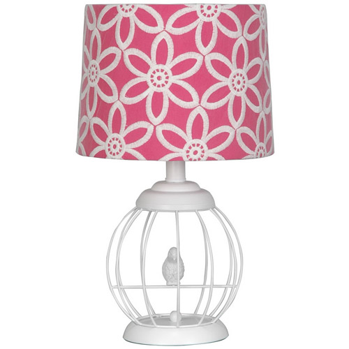 Beautiful Your Zone Bird Cage Lamp With Floral Pink And White Shade