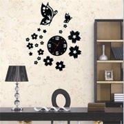wall clock living room. Modern 3D DIY Home Living Room Butterfly Flower Sticker Decor Mirror Wall  Clock Clocks