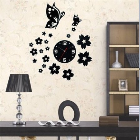 modern 3d diy home living room butterfly flower sticker decor mirror