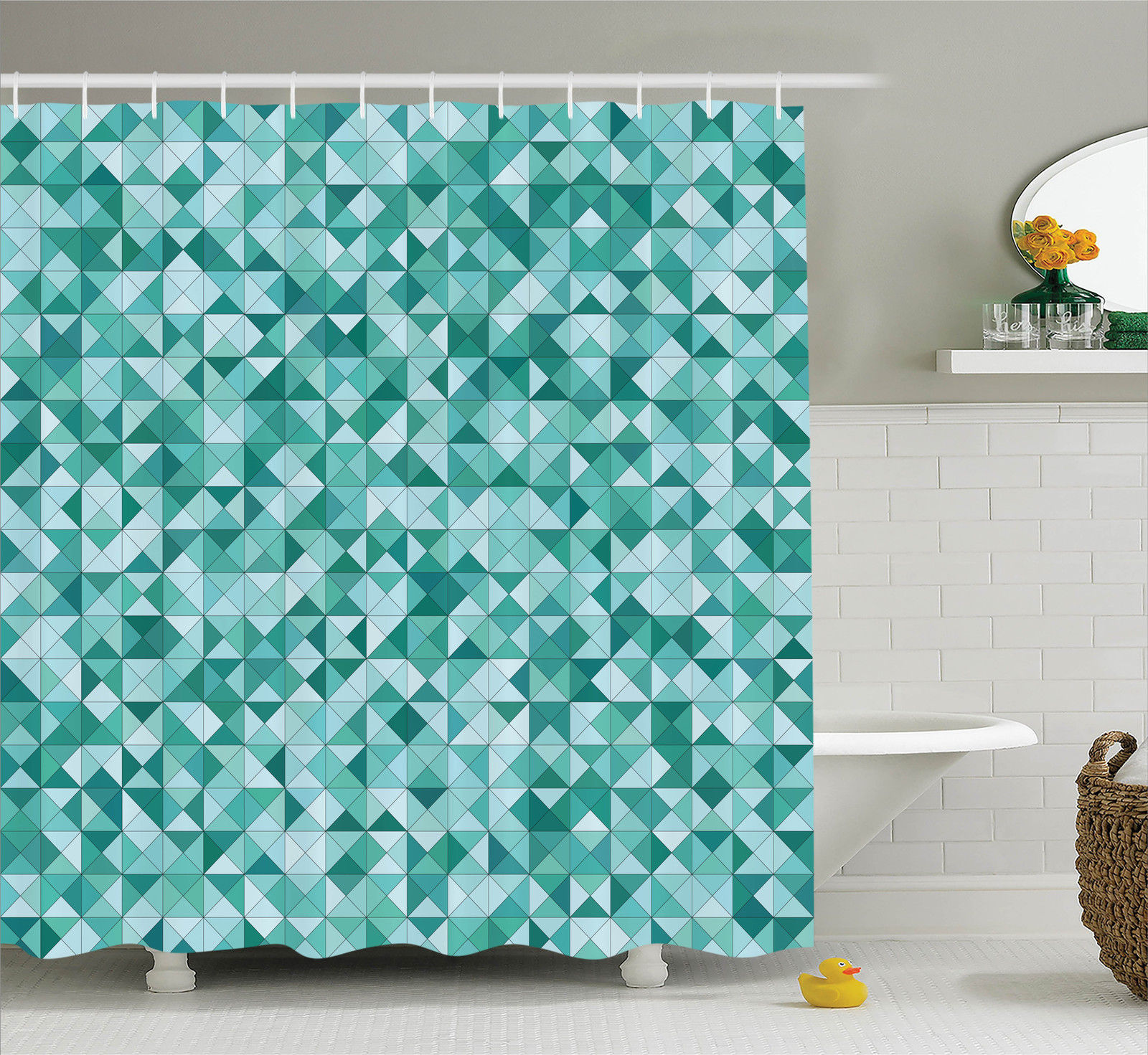 Teal Decor  Triangle Mosaic Polygon Shapes Decorative Lights Shadows Effect Illustration, Bathroom Accessories, 69W X 84L Inches Extra Long, By Ambesonne