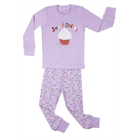 "Elowel Baby Girls Purple Cupcake ""Sweet Dreams"" Print 2 Pc Pajama Set"