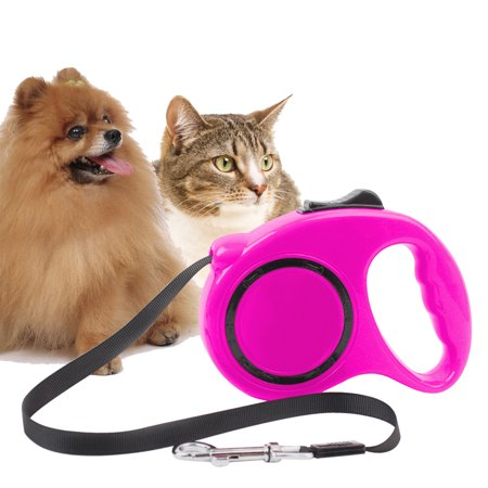 GLiving  Retractable Dog Leash for Small to Medium Dogs Durable Adjustable Dog Nylon Leash  Rose Red for