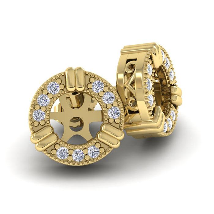 SuperJeweler 14K Yellow Gold Diamond Earring Jackets, Fit...