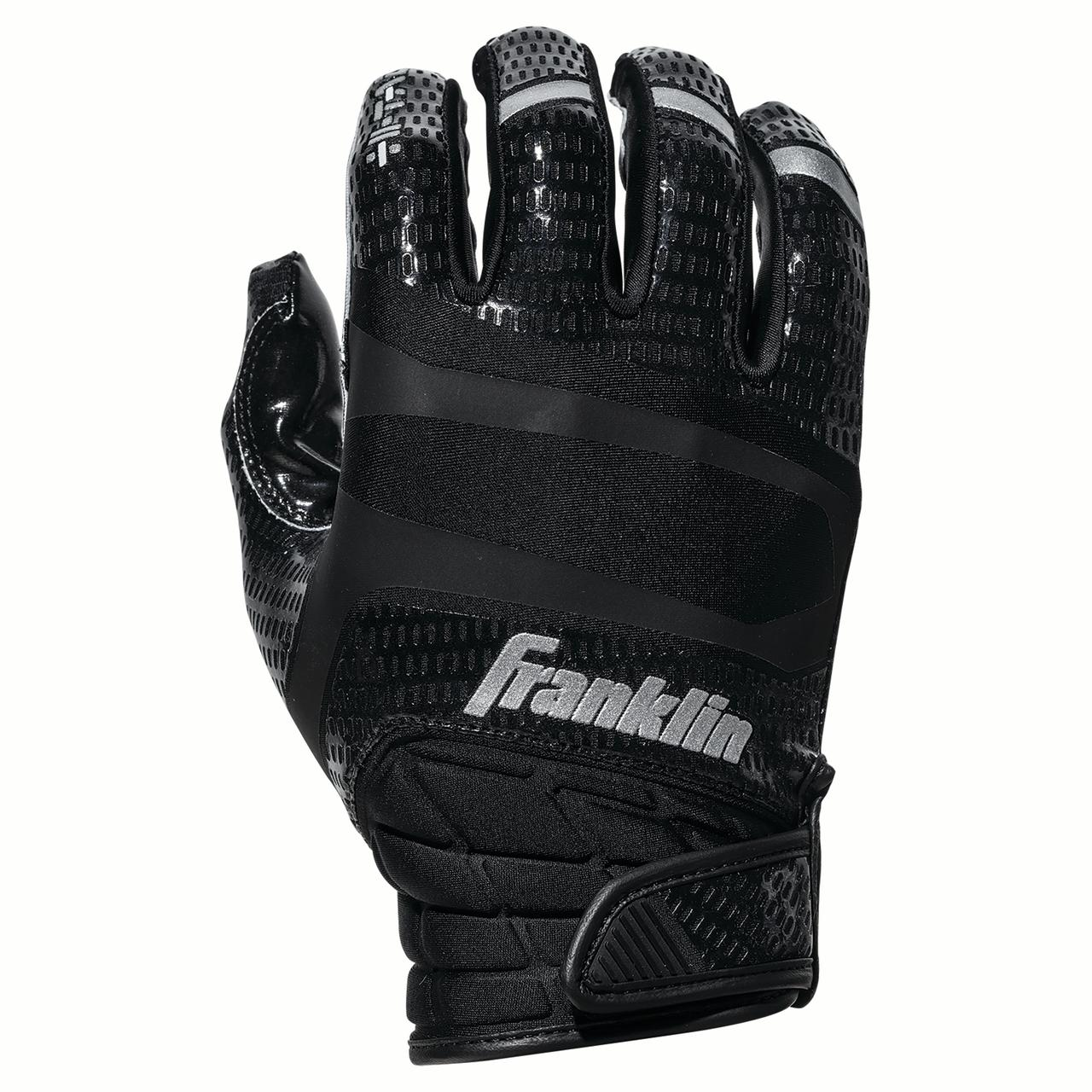 Franklin Sports Hi-Tack Premium Football Receiver Gloves - Black - Youth Medium