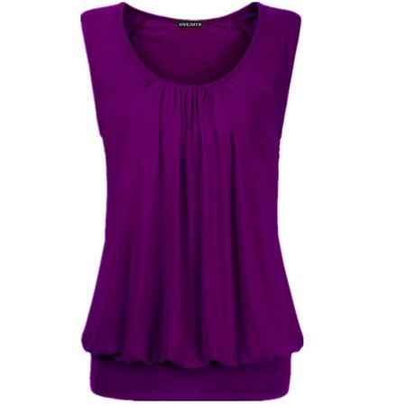 Womens Cotton Sleeveless Top Blouse - Summer Women Sexy Solid Color O-neck Sleeveless Tops Loose Pleated Cotton Blouse Plus Size T Shirt Fashion Casual Tank Tops
