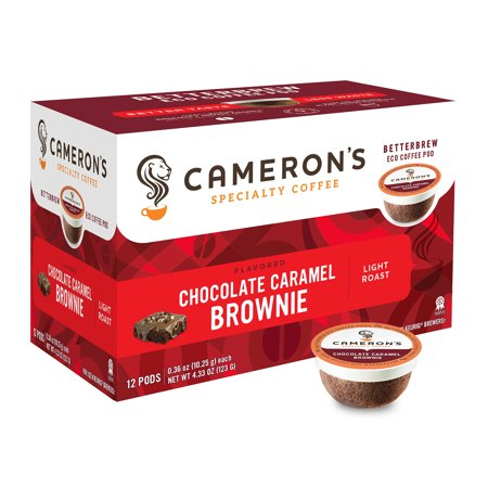 Bourbon Chocolate Coffee (Cameron's Specialty Coffee Chocolate Caramel Brownie Flavored Single Serve Pods, 12 count)