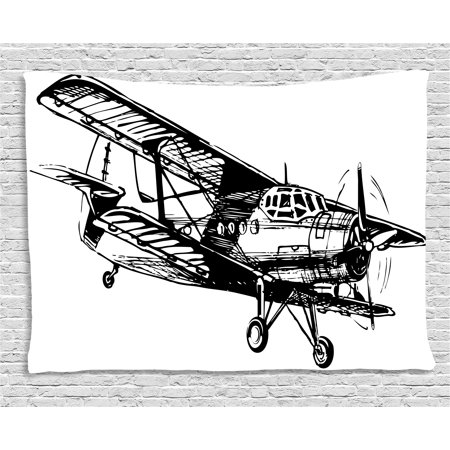Vintage Airplane Decor Tapestry, Drawing of Monoplane Sketchy Stylized Ancient Monochrome Design, Wall Hanging for Bedroom Living Room Dorm Decor, 60W X 40L Inches, Black and White, by Ambesonne