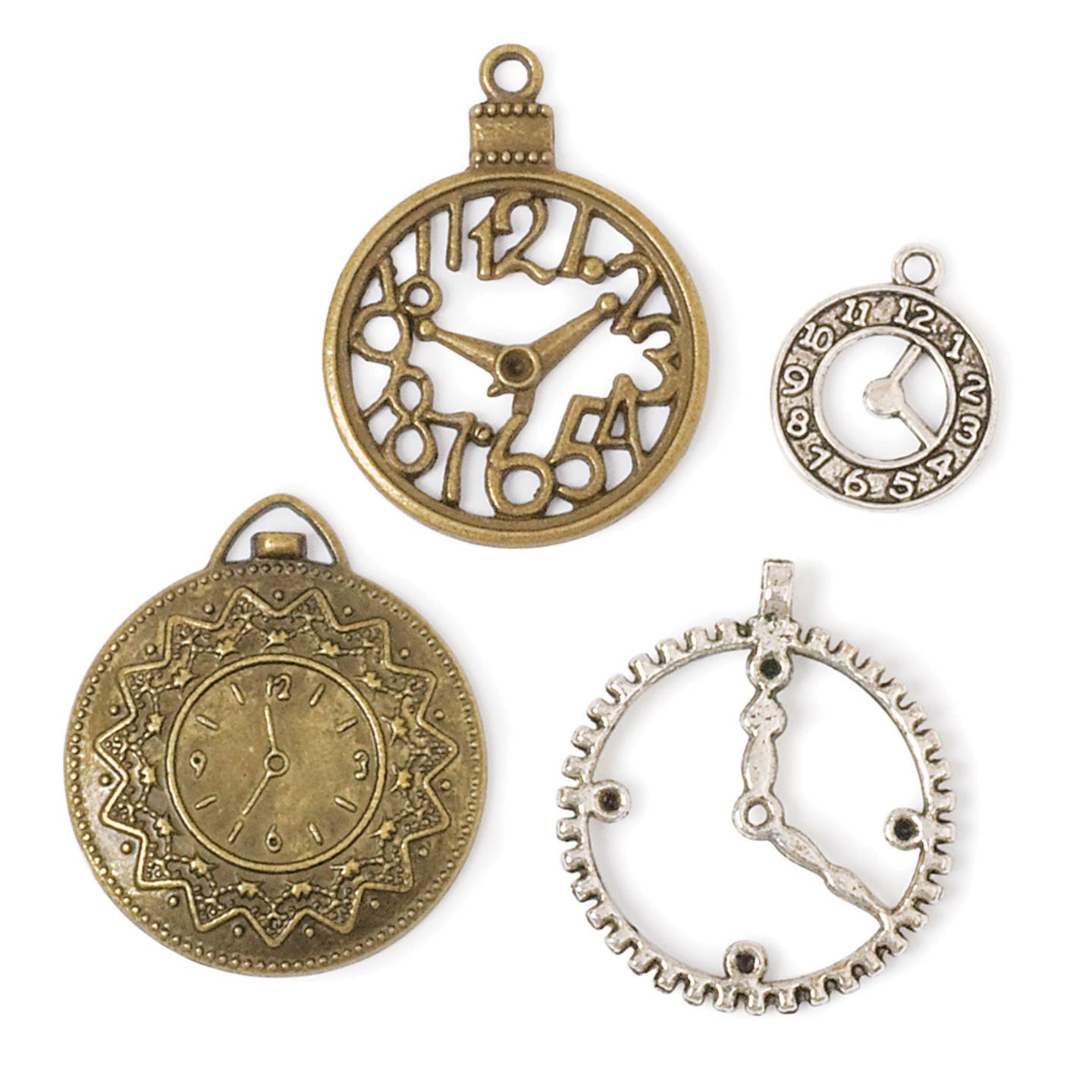Steampunk Charms: Clock Charm Pack in Antique Gold & Silver