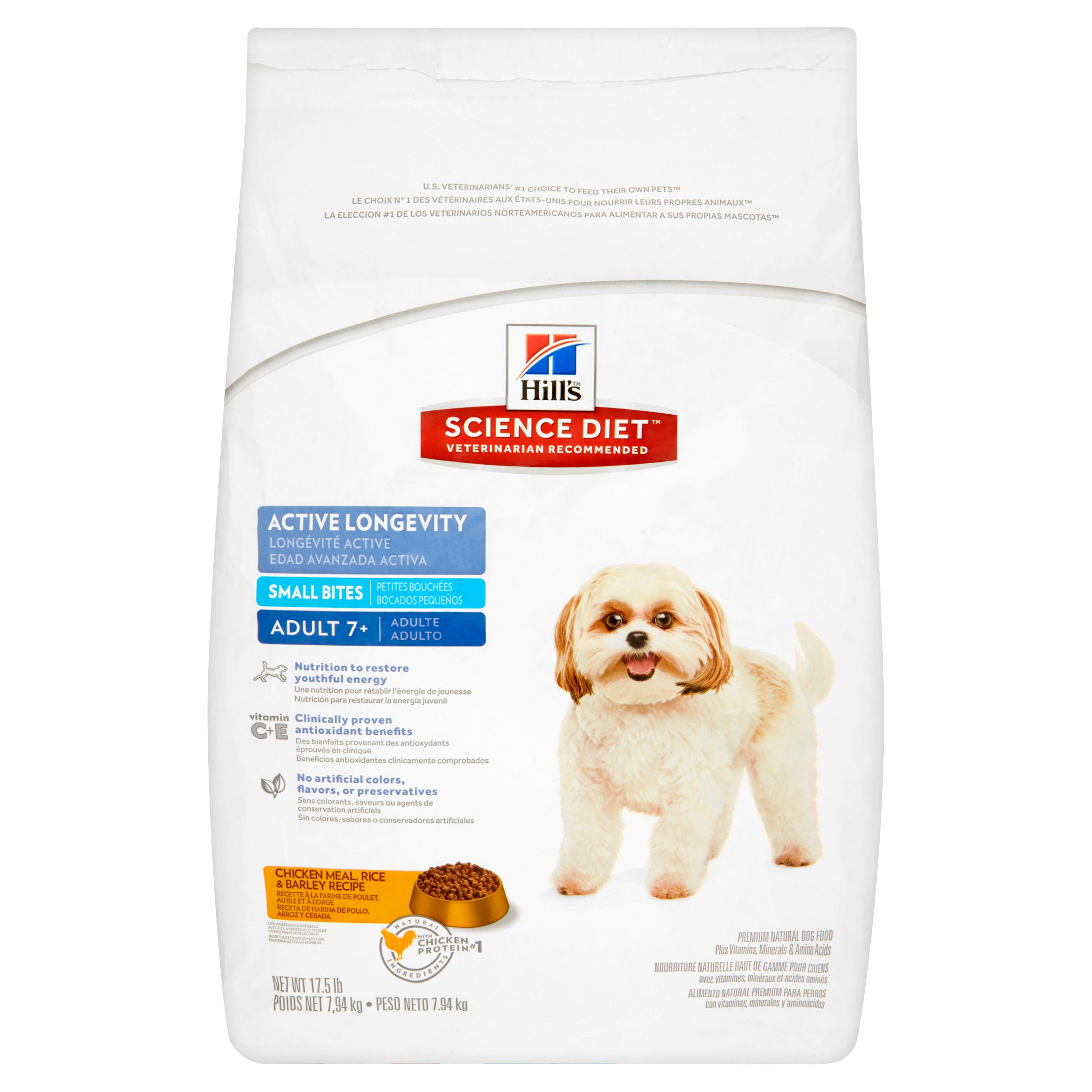 Hill's Science Diet Small Bites Chicken Meal, Rice & Barley Recipe Dog Food Adult 7+, 17.5 lb by Hill's Pet Nutrition, Inc.