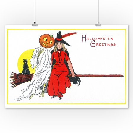 Halloween Greetings Witch on Broom with Friends Scene (9x12 Art Print, Wall Decor Travel Poster)](Halloween 1 Best Scenes)