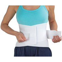 DMI Elastic Lumbar Sacral Back Support Brace for Lower Back Pain with Rigid Steel Stays, Adjustable Lumbar Back Brace, Fits 34 to 48, White