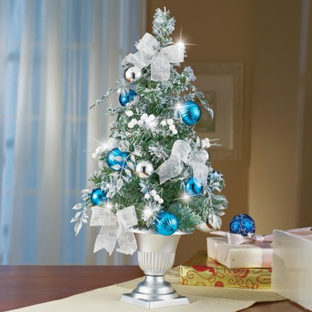 Collections Etc Frosted Blue and Silver Tabletop Christmas (Silver And Blue Christmas Tree Decorating Ideas)