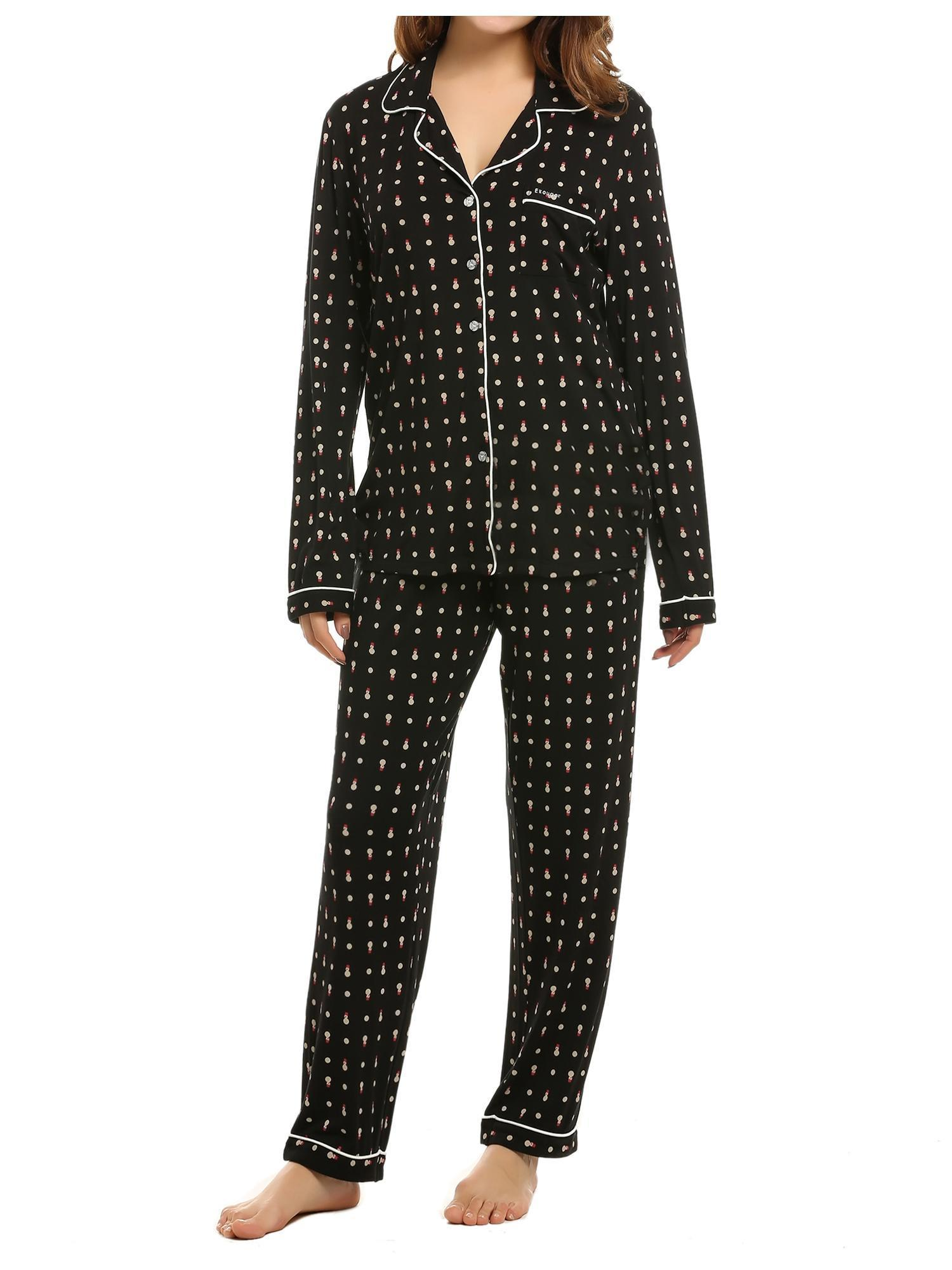 3b45da403c Ekouaer Women Sleepwear 2 Piece Shirt Long Pajama Set cbst - Walmart.com