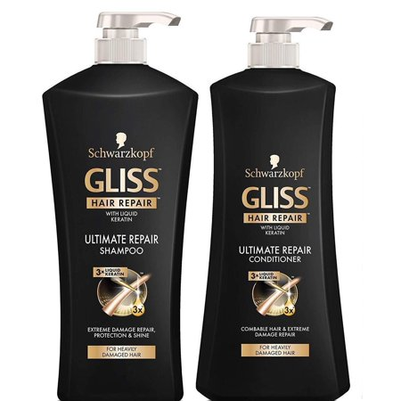 Gliss Ultimate Repair Shampoo & Conditioner by Schwarzkopf Hair Repair Set for Combable & Heavily Damaged Hair - 25.4 Fl Oz Shampoo + 25.4 Fl Oz