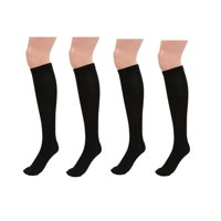 4 Pairs Black Knee High Graduated Compression Socks for Men & Women - BEST Stockings for Running, Medical, Athletic, Diabetic, Swelling, Varicose Veins, Travel, Pregnancy, Shin Splints, Nurse
