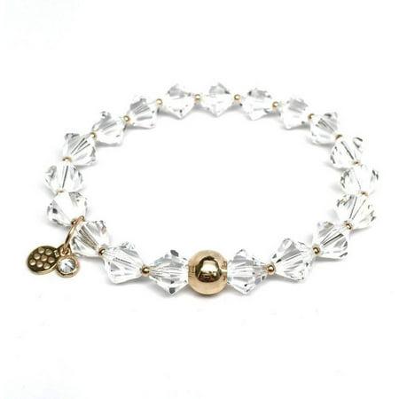 White Crystal Swarovski Crystal Rachel 14kt Gold over Sterling Silver Stretch Bracelet, April Birthstone Color