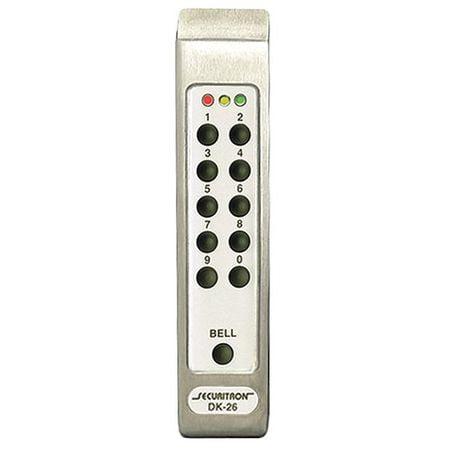 SECURITRON DK-26PSS Digital Keypad Pad,DK-26,Satin Stainless G1609651
