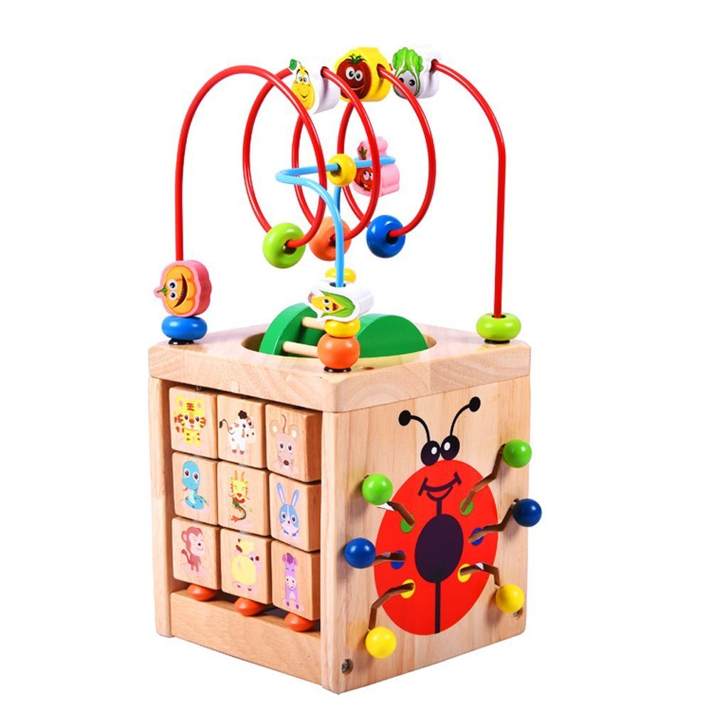 Kids Gift Bead Maze Activity Center for 1 Year Old Around Circle Educational Skill Improvement Wood Toys for Toddlers, Babies (Glowworm)F-180