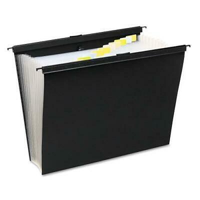 Slide-Bar Expanding Pocket File, 13 Pockets, Poly, Letter, Black ()