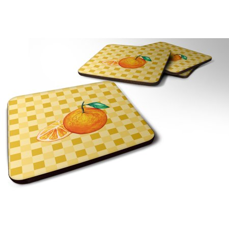 Set of 4 Oranges and Slice on Basketweave Foam Coasters Set of 4 BB7239FC