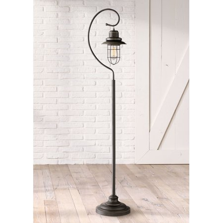 Franklin Iron Works Industrial Lantern Floor Lamp Oil Rubbed Bronze Metal Cage Dimmable LED Edison Bulb for Living Room Reading