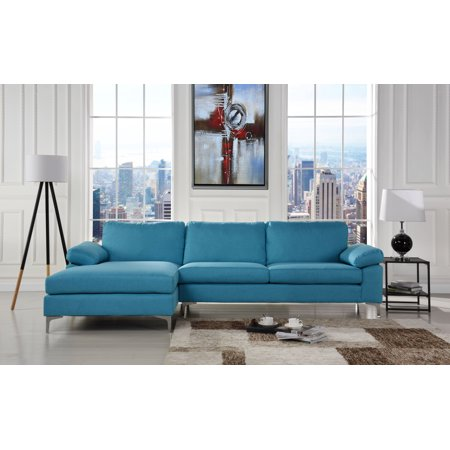 Pleasing Modern Large Linen Fabric Sectional Sofa L Shape Couch With Extra Wide Chaise Lounge Blue Short Links Chair Design For Home Short Linksinfo