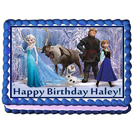 Frozen Personalized Edible Cake Topper Image -- 1/4 Sheet (Cake Toppers Frozen)